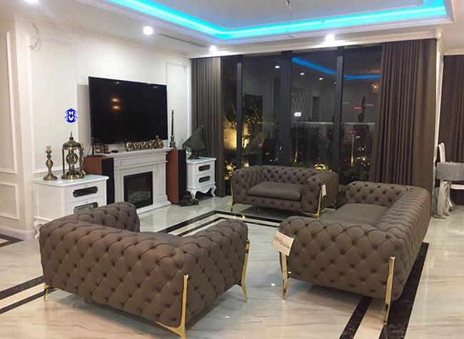 Bộ rèm cửa cao cấp cùng tông màu bộ sô fa trong không gian phòng khách tại hà nội