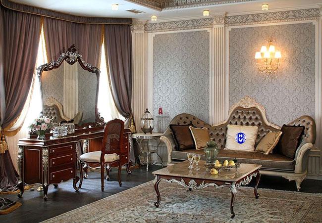 Bộ rèm cửa đẹp chất nhung sang trọng góp phần căn phòng toát lên đậm chất hoàng gia xa xỉ
