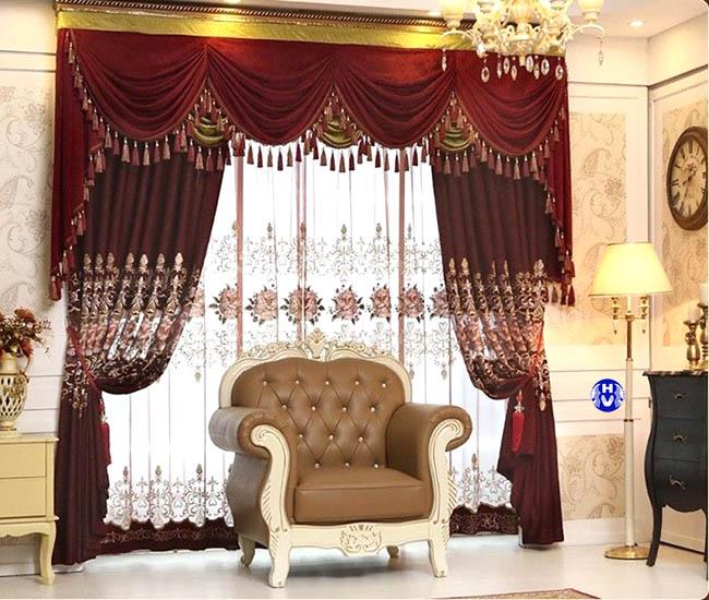 Bộ rèm cửa nữ hoàng trong không gian nội thất tân cổ điển làm tô đẹp sang trọng cho căn phòng