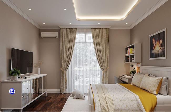 Căn phòng ngủ đẹp không thể thiếu một mẫu rèm cửa sổ hoa văn tinh tế