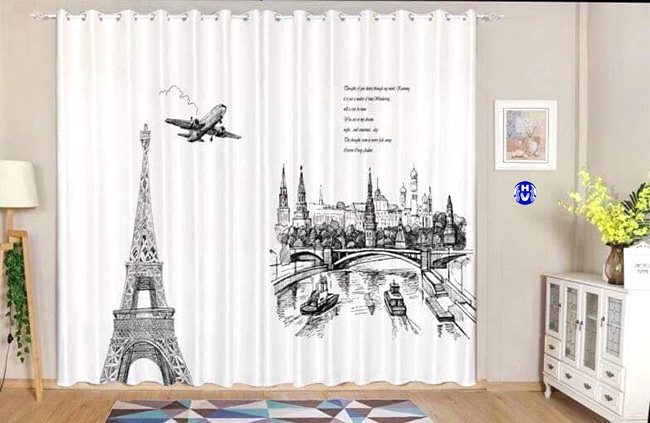 Hình ảnh phá cách từ bộ rèm cửa hiện đại phù hợp với các bạn trẻ năng động