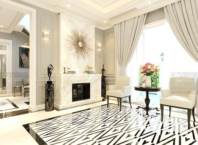 Màu kem của rèm cửa chính càng làm tăng sự sang trọng cho căn phòng