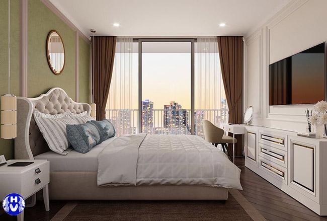 Mẫu rèm cửa sổ gam màu trầm ấm cân bằng trong không gian phòng ngủ nhiều sắc trắng