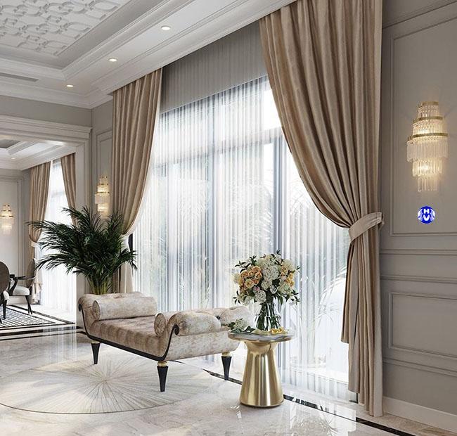 Mẫu rèm cửa vải gấm màu kem mang nét đẹp nhẹ nhàng trong không gian hiện đại