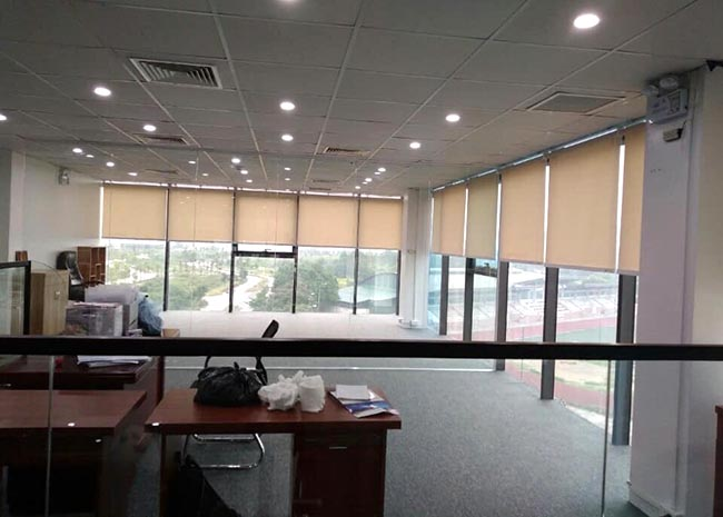 Mẫu rèm cuốn che nắng cửa sổ được nhiều văn phòng ưu tiên sử dụng