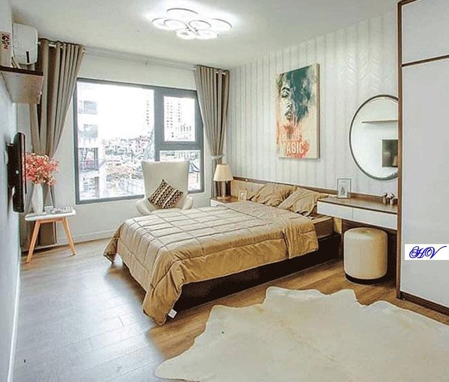 Mẫu rèm vải phòng ngủ tối giản chi tiết vẫn đảm bảo đủ công năng