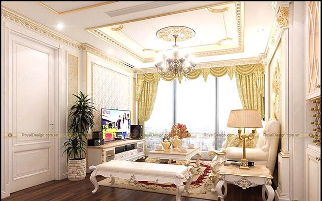 Một công trình nội thất tân cổ điển không thể thiếu mẫu rèm cửa vải gấm làm tăng sự xa hoa