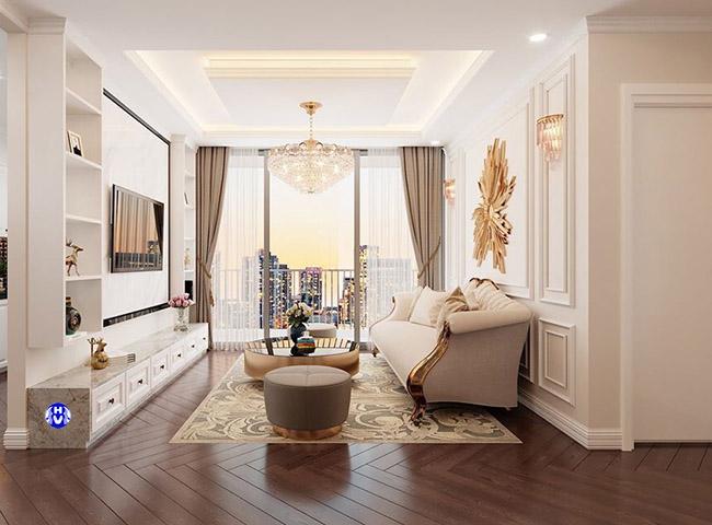 Một tấm rèm cửa sổ ánh vàng tôn lên vẻ đẹp tinh tế phòng khách