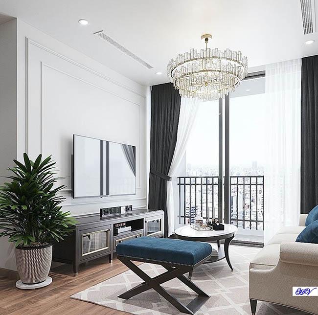 Nhờ màu sắc kết hợp từ bộ rèm cửa giúp phòng khách có chiều sâu từ mọi góc nhìn