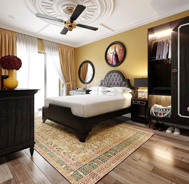 Sự kết hợp màu sắc từ rèm với những khối màu được tính toán chi tiết tạo lên một màu sắc sang trọng cho căn phòng