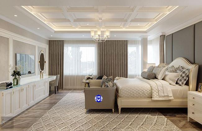 Trong không gian phòng ngủ master không thể thiếu một bộ rèm cửa màu kèm đặc trưng
