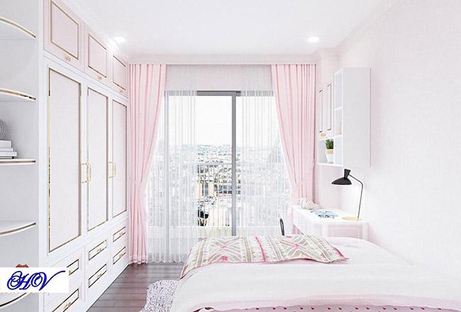 Căn phòng vô cùng nữ tính góp phần không nhỏ mẫu rèm cửa sổ
