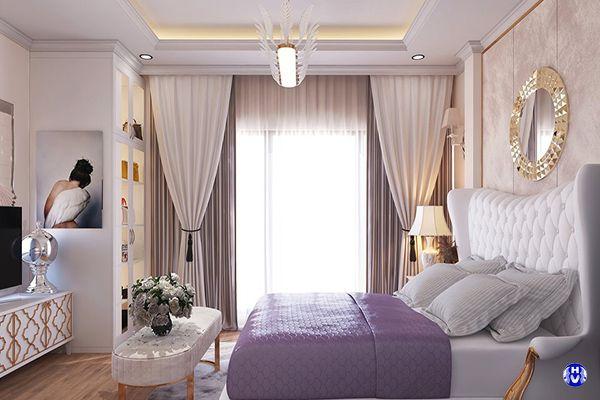 Chất liệu rèm vải màu trắng cao cấp không bao giờ làm phòng ngủ lỗi mốt