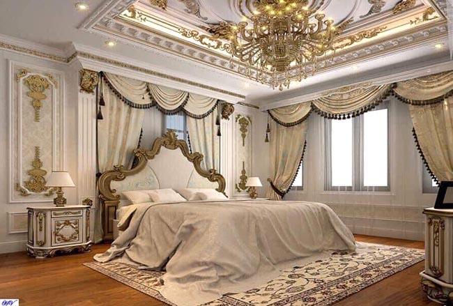 Mẫu rèm ánh vàng tăng thêm phần xa hoa lỗng lẫy căn phòng ngủ