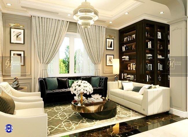 Mẫu rèm cửa biệt thự đẹp tông màu sáng tao khoảng rộng mặt sàn và trần nhà