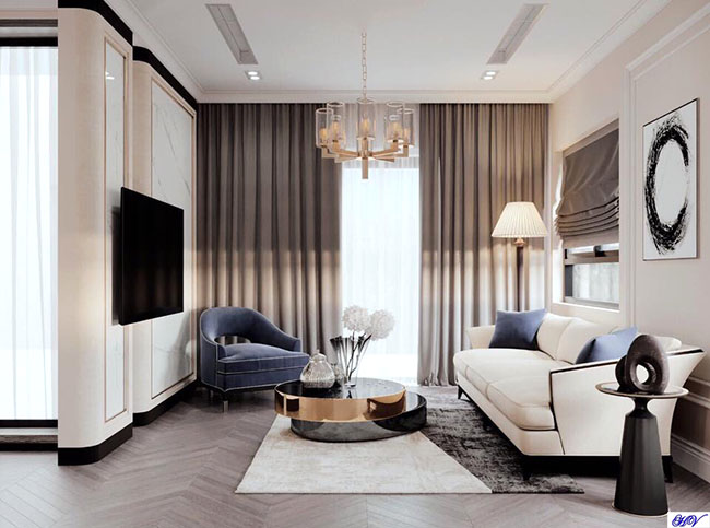 Màu rèm cửa chọn lựa theo tỷ lệ vàng với nội thất hiện đại là các gam màu sáng