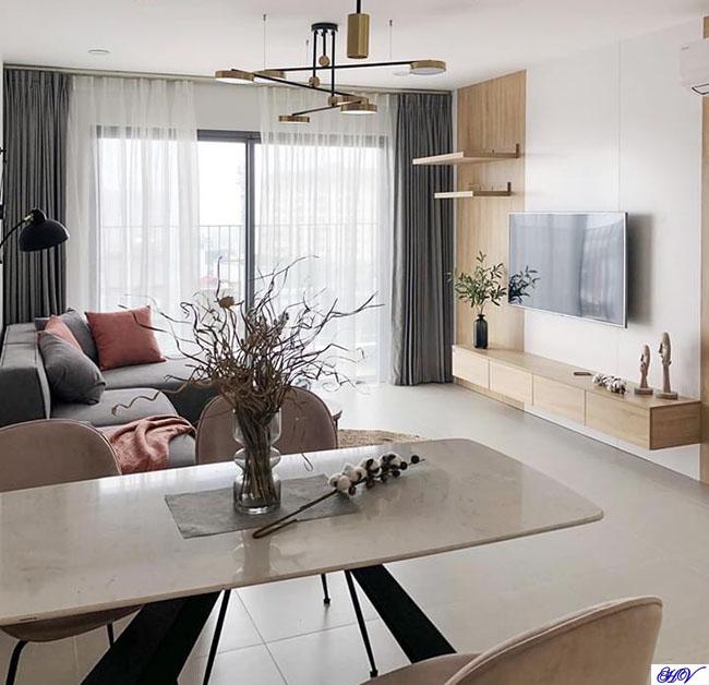 Mẫu rèm cửa được phối màu theo kết nối không gian liên thông phòng khách và phòng ăn