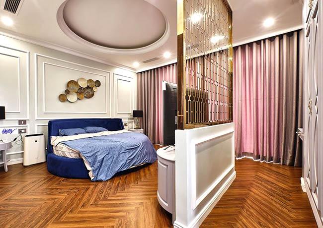Mẫu rèm màu hồng phấn phòng ngủ hiện đại