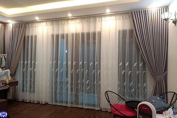 Mẫu rèm vải 2 lớp hiện đại phòng ngủ xu hướng mới nhất 2021