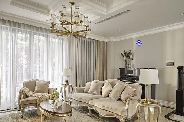 Mẫu rèm vải cao cấp trang trí cho nội thất tân cổ điển phòng khách