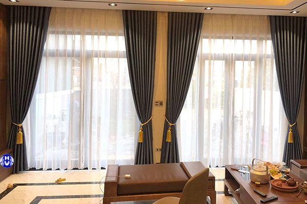 Mẫu rèm vải đẹp cao cấp phòng khách biệt thự sang trọng