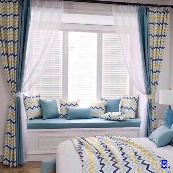 Mẫu rèm vải kẻ caro phòng ngủ đẹp bắt mắt