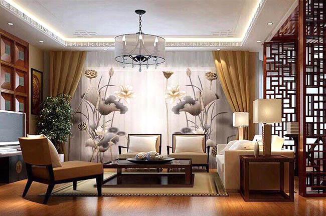 Mẫu vải voan được thêu hoa sen mang lại sức sống căn phòng khách