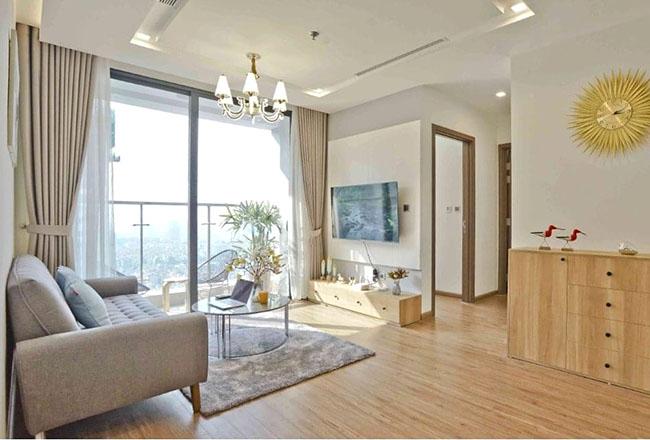 Một căn phòng khách chung cư hiện đại không thể thiếu một mẫu rèm trang trí
