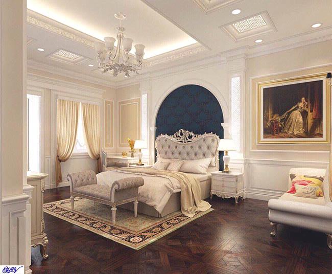 Phong cách thiết kế hiện đại cao cấp thiên về kết hợp màu sắc từ rèm cửa đến giường ngủ