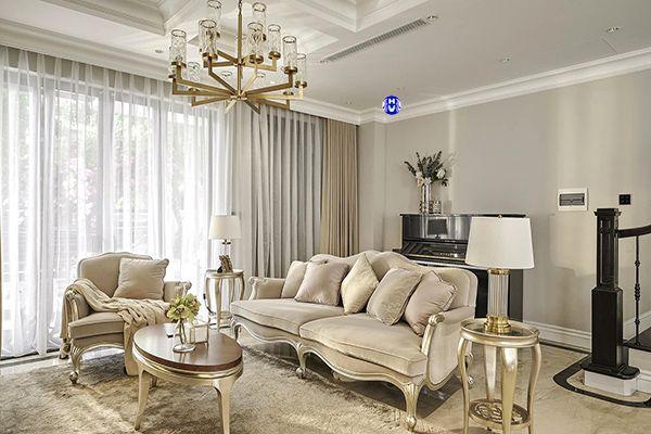 Rèm cửa 2 lớp tự động cho phòng khách chung cư cao cấp