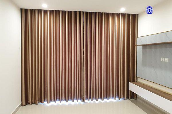 Rèm cửa 1 màu đẹp che nắng phòng khách hiện đại