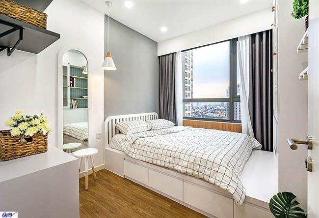 Rèm cửa gam màu xám mang lại cảm giác bình yên phù hợp phòng ngủ