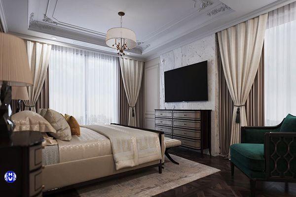 Rèm cửa phòng ngủ cao cấp 2 lớp màu kem tạo không gian đầy tinh tế