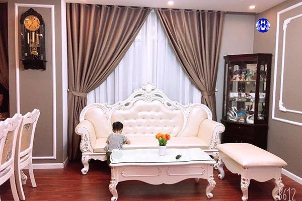Rèm vải cửa sổ đẹp tô điểm thêm cho phòng khách nội thất châu âu