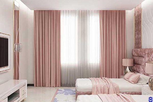Rèm vải cửa sổ màu hồng phòng ngủ khách sạn