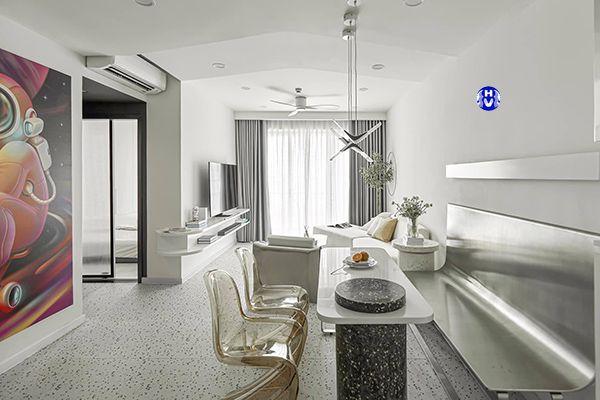 Rèm vải đẹp màu ghi sáng kết hợp nội thất công nghiệp phòng khách