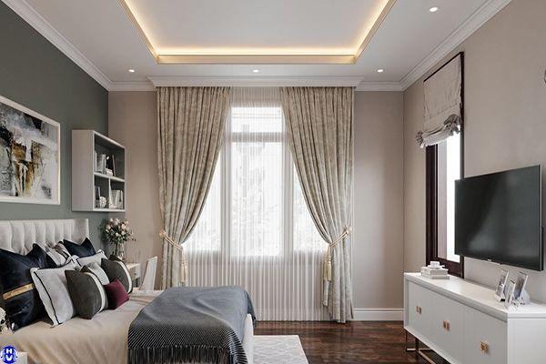 Rèm vải họa tiết nhẹ nhàng tô điểm phòng ngủ phong cách châu âu