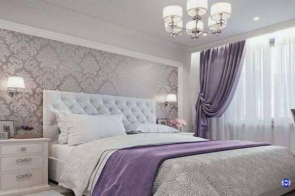 Rèm vải màu tím nhập khẩu trang trí phòng ngủ đẹp