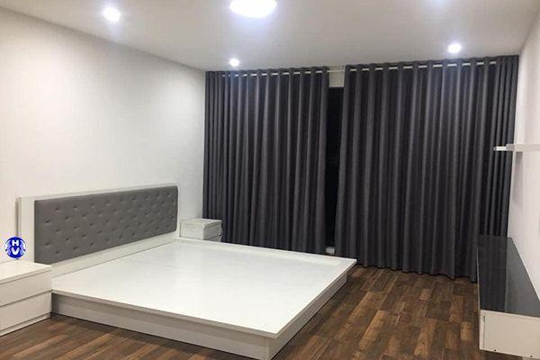 Rèm vải màu xám phòng ngủ tiện ghi hiện đại