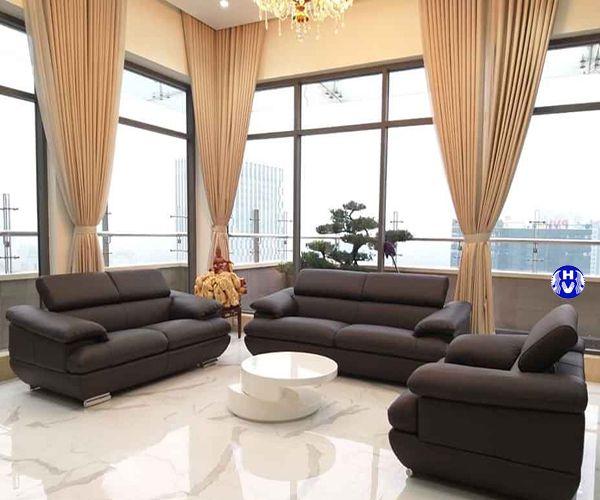 Rèm vải nhập khẩu Bỉ thiết kế âm trần tạo không gian thoáng hơn phòng khách