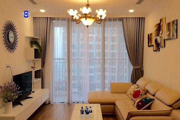 Rèm vải tráng cao su non cách nhiệt cho phòng khách chung cư