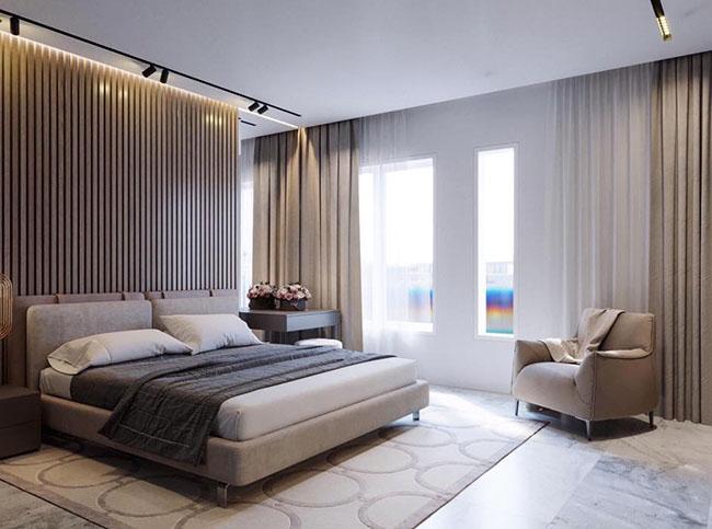 Tấm rèm mở ra một không gian tầm nhìn rộng về chiều cao và không gian