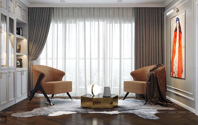 Tấm rèm rủ hai bên tăng thêm tính nghệ thuật cho căn phòng