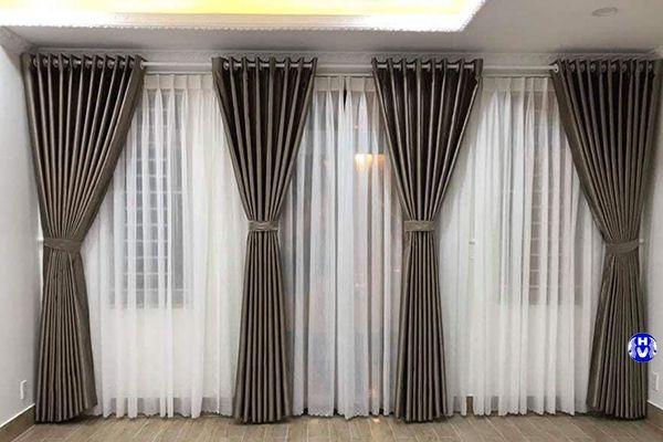 rèm vải 2 lớp cao cấp phòng ngủ màu ghi nhã nhặn