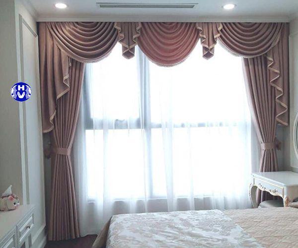 rèm vải 2 lớp cao su non cản nhiệt phòng ngủ sang trọng