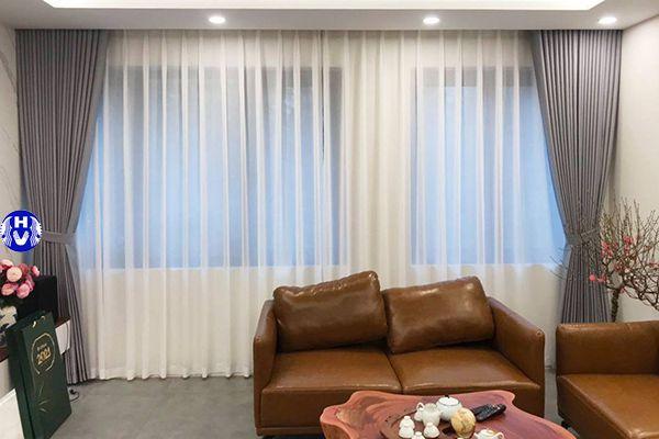 rèm vải 2 lớp màu ghi đẹp cho phòng khách hiện đại