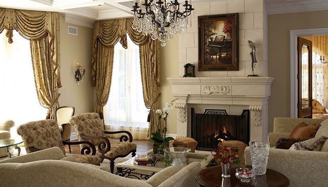 Chọn màu sắc rèm cửa tân cổ điển tương đồng hay tương phản nhẹ với sofa