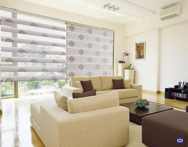 Họa tiết trên mẫu rèm cuốn được đa dạng để phù hợp với từng không gian