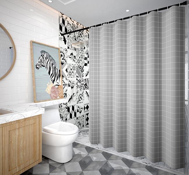 Kích thước bộ rèm cho phòng tắm được tính toán đo đạc hợp lý