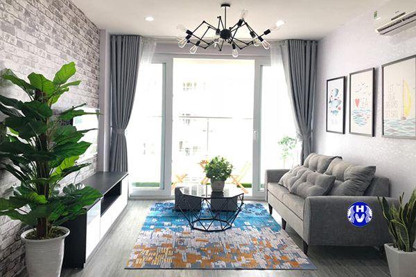 Rèm cửa 1 lớp kết hợp sofa nội thất chung cư hiện đại